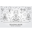 Man Reading A Book And Imagining The Love Story Th vector image
