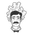 man with steaming head sketch vector image vector image