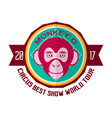 monkey d circus best show world tour 2017 emblem vector image