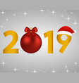 new year 2019 on a silver background vector image