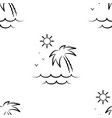 palm tree sun and sea pattern seamless vector image