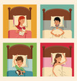 people sleeping comfort bed with pets vector image vector image