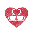 Romantic dating icon with two coffee cups and vector image vector image