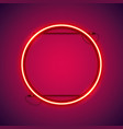 round red neon frame vector image vector image