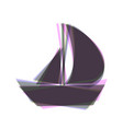 sail boat sign colorful icon shaked with vector image vector image