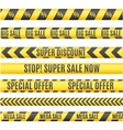 Sale Labels Yellow Line Strip Tape Ribbon Set vector image