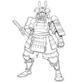 samurai warrior line art vector image