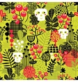Seamless pattern with cute halloween and flowers vector image vector image