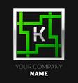 silver letter k logo symbol in the square maze vector image vector image