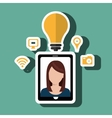 Smartphone and woman isolated icon design vector image vector image