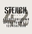 stencil font 008 vector image vector image
