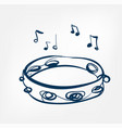 tambourine sketch line design music instrument vector image vector image