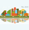 tel aviv israel city skyline with color buildings vector image vector image