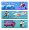Travel Banners with Tourists and Transportation vector image vector image