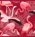 tropical flamingo bird seamless summer pattern vector image vector image