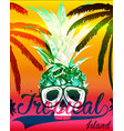 tropical skull tee graphic design vector image vector image