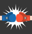 two boxing glove strike flat design vector image vector image