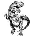 tyrannosaurus dinosaur linework vector image vector image