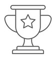 winner thin line icon game and award trophy cup vector image vector image