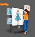 young woman or girl trying on clothes in front 3d vector image
