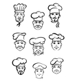 Collection of chefs in traditional toques vector image