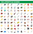 100 lifestyle icons set cartoon style vector image vector image