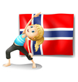 A Norwegian flag at the back of a girl exercising vector image vector image