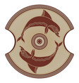 ancient greek shield the image of a dolphin and vector image vector image