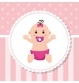 Baby girl of baby shower card design vector image vector image