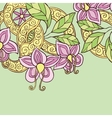 Background with hand drawn color doodle flowers vector image