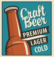 banner with beer bottle in retro style vector image vector image