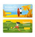 banners - man with surfboard football girl vector image vector image