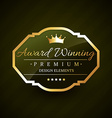 beautiful award winning golden label vector image vector image