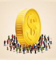 big people crowd around golden coin business vector image vector image