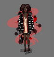 black fashion girl in big coat with bag vector image vector image