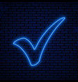 blue neon checkmark vector image vector image