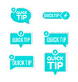blue quick tips logo icon or symbol set with vector image