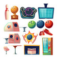 bowling club equipment icons design elements set vector image