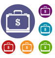 briefcase full of money icons set vector image vector image