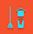 broom bucket and hanger sign whitish vector image