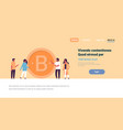 business man woman mining bitcoin crypto currency vector image vector image