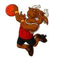 cartoon bull basketball mascot vector image