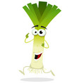 cartoon happy leek character vector image vector image