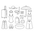 clothes and necessities for summer season travel vector image