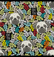 colorful pattern with cute dog faces and love vector image vector image