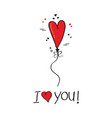 cute i love you red single heart helium balloon vector image vector image