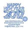 Drawn Happy New Year 2017 greeting card vector image vector image
