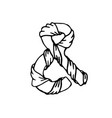 elegant sketch wrapped ribbon ampersand for vector image