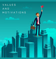 flat banner values and motivations job seeker vector image vector image