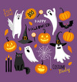 flat style halloween set vector image